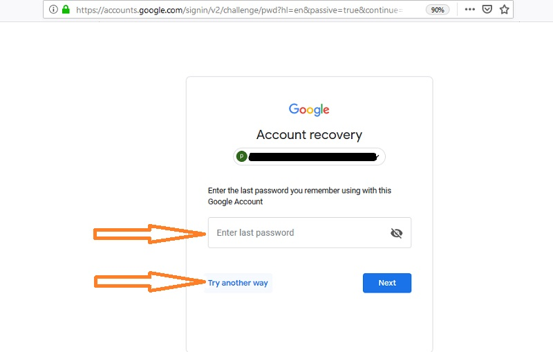 gmail recover password